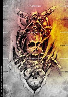free art print of tattoo art, sketch of a machine gears and skull - Dragon Tattoo Drawing, Tattoo Art, Gargoyle Tattoo, Dragon Tattoo Designs, Clipart Black And White, Free Art Prints, Grey Tattoo, Tattoo Machine, Book Images
