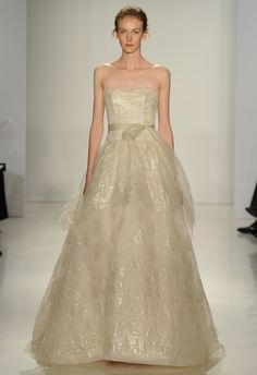 Metallic Lace Ball Gown | Amsale Fall 2015 Wedding Dresses | Maria Valentino/MCV Photo | Blog.theknot.com
