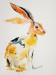 Hare original watercolor painting. Contemporary water colour.