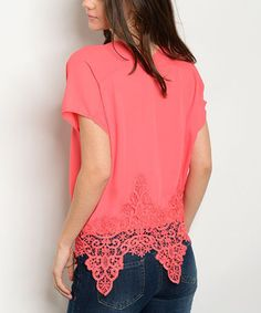 Look what I found on #zulily! Coral Lace Scallop-Hem Short-Sleeve Top #zulilyfinds