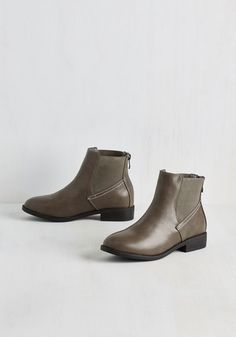 Boston to Austin Bootie in Stone - Low, Faux Leather, Grey, Solid, Work, Casual, Minimal, Better, Ankle
