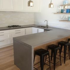 Polished Concrete Work Top With Drainer Grooves …  Pinteres… Stunning Concrete Kitchen Countertops Inspiration Design
