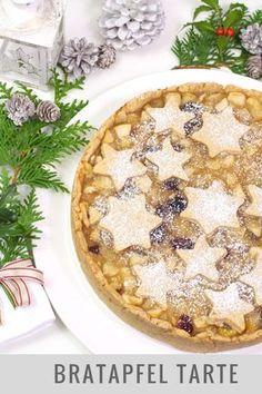 Saftige Tarte aus Äpfeln, Marzipan, Cranberries und weihnachtlichen Gewürzen