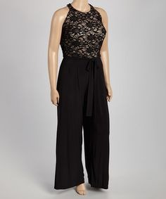 Take a look at this Black & Tan Lace Jumpsuit - Plus on zulily today!