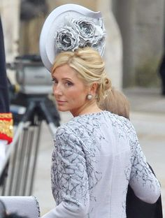 Princess Marie Chantal of Greece wowed in a sideways floral number at Royal Wedding Fascinator Hats, Fascinators, Headpieces, William Kate Wedding, Marie Chantal Of Greece, Greek Royalty, Greek Royal Family, Crazy Hats, Casa Real