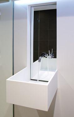 white corian and concrete bathroom modern bathroom