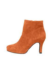 Bottines femme orange en cuir velours