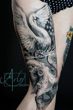 swan and octopus tattoo