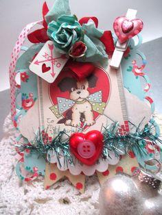 kitschy dog valentine ornament-XOXO by cherrysjubileecards on Etsy