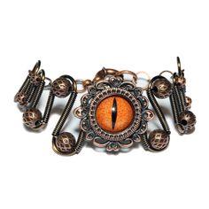 Steampunk Jewelry - Bracelet - Orange taxidermy glass Eye