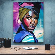 African-American Woman art, Beauty Woman, African Art, Canvas decoration for living room, Home Black Women Art, Black Art, Comic Poster, Black And White Posters, Kids Poster, Decorating With Pictures, African American Women, Minimalist Art, African Art