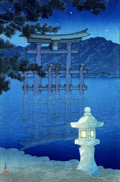 Galerie torii: Nuit étoilée à Miyajima Shrine par Kawase Hasui Japanese Artwork, Japanese Painting, Japanese Prints, Museum Of Fine Arts, Art Museum, Kunsthistorisches Museum, Art Occidental, Art Asiatique, Miyajima