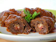Bife Rolê com Queijo Coalho e Bacon | Blog Aqui na Cozinha |