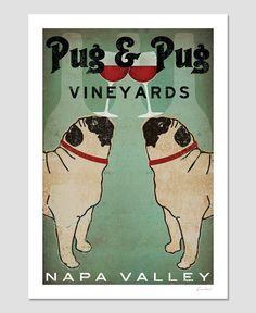 PERSONALIZED Custom Pug & Pug WINE Vineyards by nativevermont