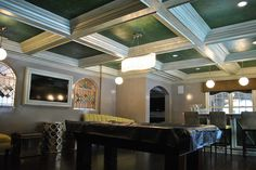 Rockville Center faux finish featuring lacquered walls, strie woodwork, tissue ceiling coffers