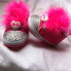 Hot Pink Barbie BLING Baby Shoes  25.00 Bling Baby Shoes 6dd490439
