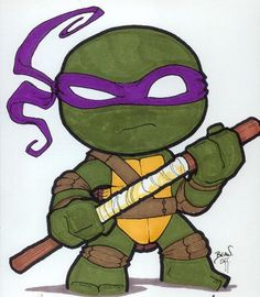 Chibi-Donatello. by hedbonstudios.deviantart.com on @deviantART