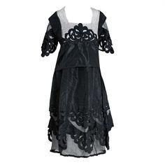 Preowned 1920's Elegant Black Cut-out Deco Silk Taffeta &... ($1,200) ❤ liked on Polyvore featuring dresses, black, low cut cocktail dresses, 1920s flapper dress, art deco cocktail dress, 20s flapper dress and art deco dress