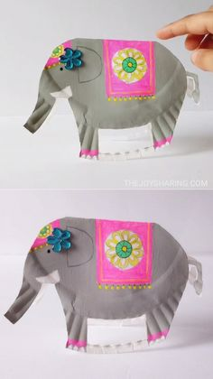 Kreative Bastelidee für Kinder: Ein Zirkus Elefant aus Pappteller und Farbe basteln Cute and super fun rocking elephant. Made using paper plate, this craft is easy to make and is a simple DIY toy for kids. Paper Plate Crafts, Paper Crafts For Kids, Paper Plates, Diy Crafts To Sell, Arts And Crafts, Craft Kids, Sell Diy, Kindergarten Crafts, Daycare Crafts