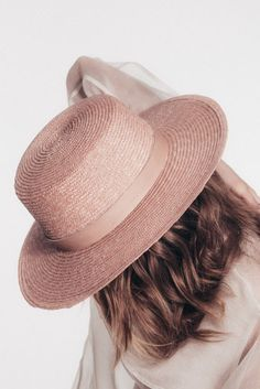 """Light Pink Wheat Braid Straw 1"""" Rose Leather Band Gold Screw Closure Made in the USA"""
