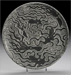 Tim Christensen - Octopusplate  fine drawings on porcelain pottery