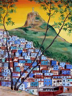 The Blue Favela Rio de Janeiro Brazil Corcovado by ArtCalifornia, $345.00