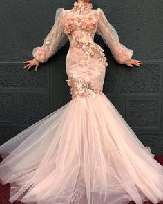 by dona matoshi ; Pink Evening Dress, Long Sleeve Evening Dresses, Champagne Evening Dress, Mermaid Evening Dresses, Formal Evening Dresses, Elegant Dresses, Pretty Dresses, Evening Gowns, Beautiful Dresses