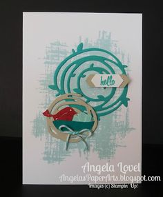 This Swirly Hello note card features the Stampin' Up! Swirly Bird stamp set and Swirly Scribbles thinlits bundle available from my AngelasPaperArts online store: http://www3.stampinup.com/ECWeb/ProductDetails.aspx?productID=142353&dbwsdemoid=4011749 #angelaspaperarts