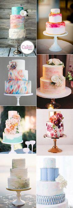glamorous watercolor wedding cakes for romantic wedding ideas (wedding baking ideas) Wedding Cake Rustic, Elegant Wedding Cakes, Wedding Cake Designs, Romantic Weddings, Trendy Wedding, Wedding Cake Inspiration, Wedding Ideas, Wedding Planning, Watercolor Wedding Cake