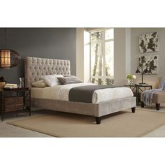 The Reims king-size beige upholstered bed features a comfortable tufted design, perfect for sitting up in bed and reading or watching TV. The beautifully finished solid wood furniture legs complete the design of this contemporary bed.