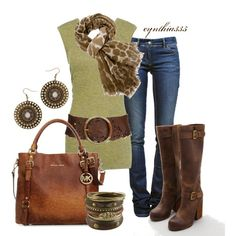 Can someone say casual Friday?! (Cinnamon, created by cynthia335 on #Work Outfit| http://work-outfit-styles-441.blogspot.com