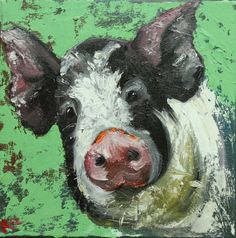 Pig painting 81 12x12 inch original oil painting by Roz
