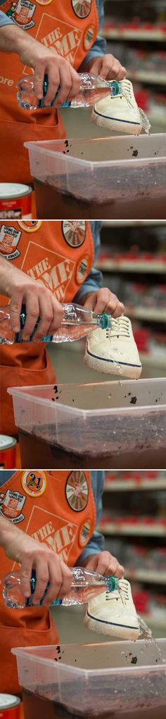 Treated with Rust-Oleum's NeverWet, pouring water on the top of a white canvas shoe, the water immediately beads up and slides off, never penetrating the canvas!