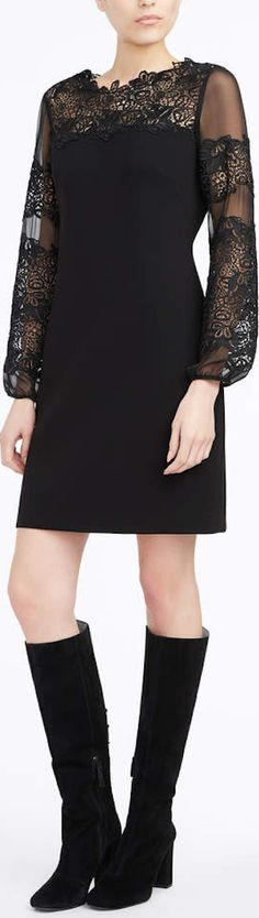 The Roni shift dress with lace sleeves and neckline.