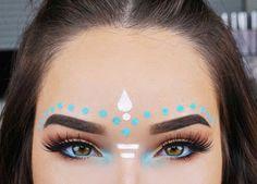 Blue & white tribal festival make-up