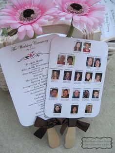 DIY - Ceremony Program for Wedding - Good Idea - family photos on a plaque so that guests know who everyone is.