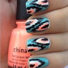 It's almost like tribal nails. Cute Nail Art, Cute Nails, Pretty Nails, Gorgeous Nails, Amazing Nails, Fancy Nails, Nail Art Designs, Nails Design, Tribal Nails