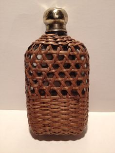 Wicker covered hip flask