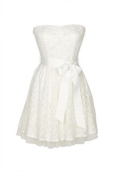 Strapless allover lace dress with tulle underlay. Removable self tie belt at waist. Back zipper for better fit.