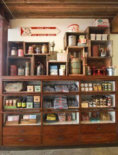 Salt & Straw | Portland Love this cabinet idea to display jams, etc for sale.