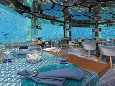 Here are the 10 Most Intoxicating Underwater Restaurants to highlight some of the greatest aquatic dining experiences you could ever have in your life. Underwater Restaurant, Underwater Hotel, Maldives Destinations, Interior Window Shutters, Decoration For Ganpati, Visit Maldives, Water Villa, Ultimate Travel, Wine Cellar