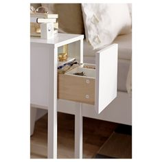 NORDLI Nightstand IKEA On the hidden shelf is room for an outlet strip for your chargers. Narrow Nightstand, Bedside Table Ikea, Ikea Side Table, Ikea Lack Table, Bedside Table Design, White Nightstand, Nightstand Ideas, Table Lamp, Nordli Ikea