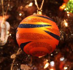 Orange & Blue Glitter Tiger Striped Ornament