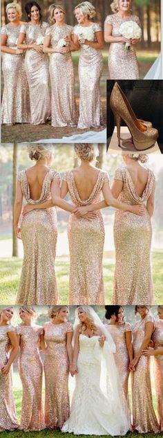 Short sleeve gold sequin bridesmaid dress, mermaid bridesmaid dresses #wedding #bridal #bridesmaid #bridesmaids #bridesmaiddress #bridesmaiddresses