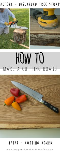 How to Make a Cutting Board out of a Tree Stump This tutorial will show you How to Make a Cutting Board… it's easy! Source by Lauterwerk Woodworking Guide, Custom Woodworking, Woodworking Projects Plans, Woodworking Desk, Woodworking Patterns, Woodworking Supplies, Woodworking Classes, Diy Cutting Board, Wood Cutting Boards
