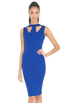 Pencil Dress with W-Neck Detail in Blue