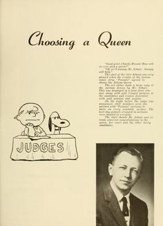 Athena yearbook, 1958. Peanuts creator, Charles Schultz chose the Athena Queen. :: Ohio University Archives