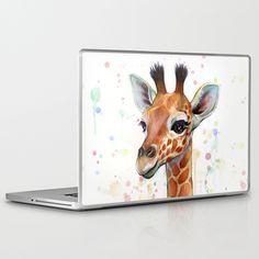 Baby Giraffe Watercolor Painting, Cute Animals Laptop & iPad Skin