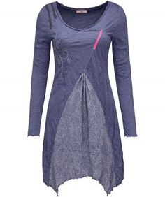 """The perfect partner for jeans or leggings, this charming crinkle jersey tunic is ideal for those fresh spring days. Complete with a pretty embroidered overlay and decorative tape embellishment. Approx Length: 93cm (at longest point) Our model is: 5'7"""""""