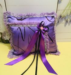 Decorative purple satin pillow cover by AldrimaStudio. Luxury hand embroidered linen set of three pillowcases . Boho Fashion, Fashion Jewelry, Purple Satin, One More Step, Designer Pillow, Decorative Pillow Covers, Designer Collection, Create Yourself, Etsy Seller